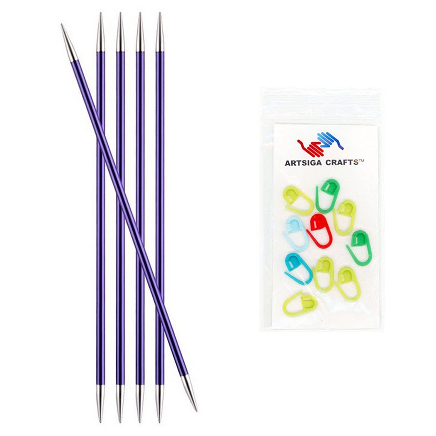 Knitter's Pride Zing Double Pointed Knitting Needles 8in. Size US 5 (3.75mm) Bundle with 10 Artsiga Crafts Stitch Markers 140038