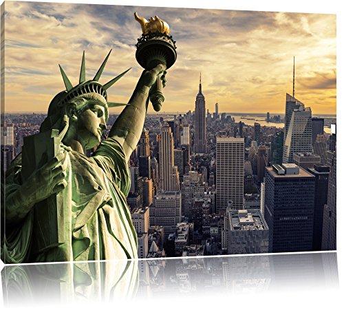 Pixxprint Freiheitsstatue in New York als Leinwandbild | Größe: 80x60 cm | Wandbild | Kunstdruck | fertig bespannt