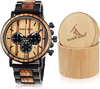 Wooden Mens Watches Stylish Wood & Stainless Steel Combined Chronograph Military Quartz Casual Wristwatches