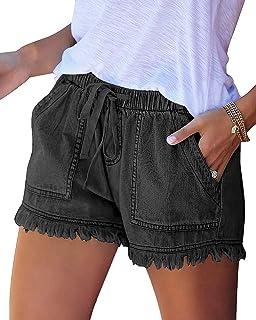 Juliet Holy Women Comfy Drawstring Shorts Cotton Casual Elastic Waist Summer Pockets Jean