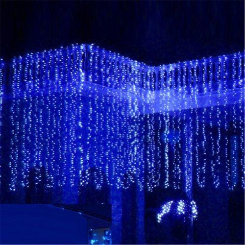 8 modalità luci esterne interni a led tende stringa luce fata finestra tenda luci ghiacciolo natale festa di natale matrimonio hotel bar festival luce decorativa (Blu, 10M x 1M 448 Luci a LED)
