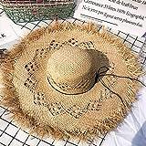 XKMY Sombrero de sol para mujer, de rafia, de ala ancha, con