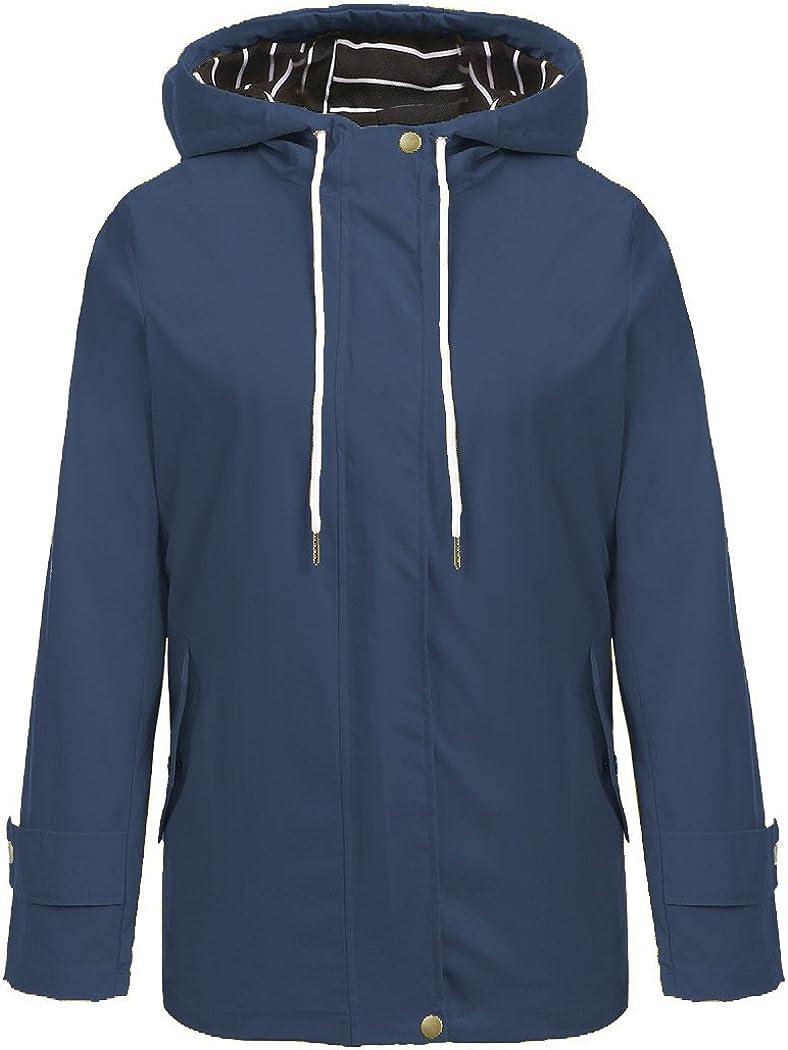 Hount Women Lightweight Waterproof Hooded Raincoat Jacket Solid Jacket Poncho