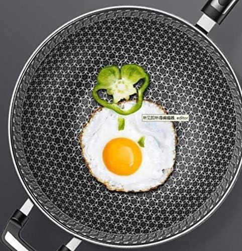 AMYZ Wok 304 Acier Inoxydable Wok poêle antiadhésive Moins de fumée Multi-Fonction ménage marmite cuisinière à Induction gaz pour Wok 32cm