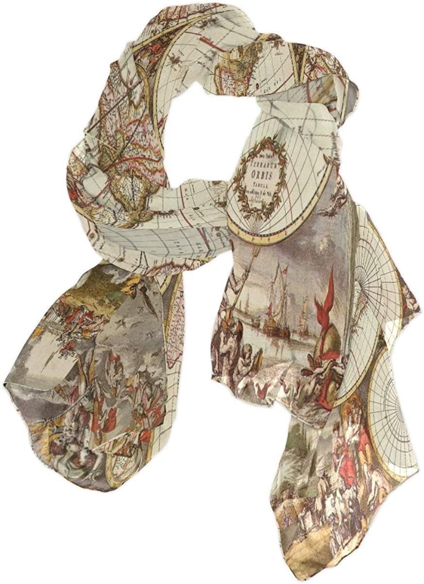 XMCL Art Painting World Map Scarf Scarves Soft Lightweight Long Sheer Wrap Shawl for Women, Color6, One Size