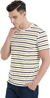 Zengjo Mens Striped Shirt Short Sleeve T-Shirts