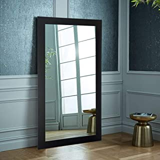 Creative Arts n Frames Fiber Wood Framed Wall Mirror with Free Multi-Purpose Glass Shelf (21 x 40 Inch, Sober Black)