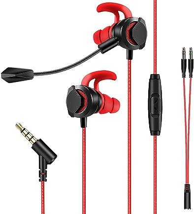 Cuffie Gaming, AGPTEK Auricolari da Gioco In-Ear con due Microfoni Stereo Bass per PS4 PC Xbox One MAC iPad iPod telefono Cellulare iPhone Huawei ecc (Rosso/Nero)