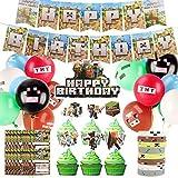 Colmanda Fournitures de Fête de Jeu Vidéo, Happy Birthday Bannière de Jeu, Ballons de Fête de Jeu Vidéo, Cake Toppers, Joyeux Anniversaire Boys Gamer Birthday Party Decorations(Décoration)