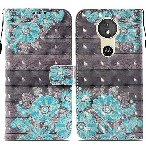 Ooboom® Motorola Moto E5/G6 Play Hülle 3D Flip PU Leder Schutzhülle Stand Handy Tasche Brieftasche Wallet Hülle Cover für Motorola Moto E5/G6 Play - Blume Blau