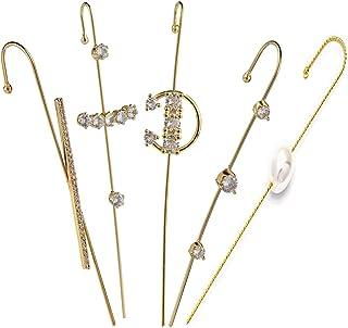 5Pcs Sparkling Cubic Zirconia Piercing Crawler Climbers Ear Cuff 14K Gold Silver Plated Wrap Hook Earrings for Women Girls...