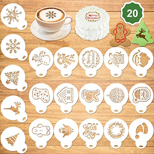 Konsait 20Pack Christmas Cake Stencil Templates Decoration, Xmas Cookie Template, Fondant Cupcake Cake Baking Painting Mold Tools, Dessert, Coffee Decorating Molds