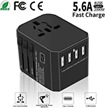International Travel Adapter - Yarrashop All in One Universal Power Adapter with 4 USB + 1 Type-C Charging Ports Wall Charger Plug for European US, EU, UK, AU 150+ Countries, Black