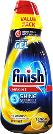 5 x FINISH 1L DISHWASHING CONCENTRATED GEL MAX IN 1 SHINE & PROTECT LEMON SPARKLE
