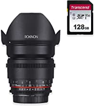 Rokinon Cine DS 16mm T2.2 Cine Lens for Micro Four Thirds (DS16M-MFT) with 128GB Super Speed Memory