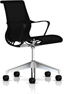 Herman Miller Setu Ergonomic Office Chair with Kinematic Spine   H-Alloy Base and Hard Floor Casters   Graphite Frame and Lyris Fabric
