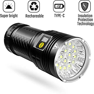 Super Bright Rechargeable Flashlight (18xLEDs),10000 Lumens Handheld Flashlight with 4 Light Modes, Insulation Protection Technology, Battery Indicator, Great for Camping and Hiking