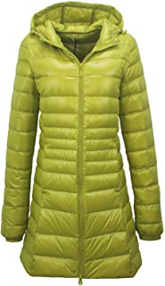 Elonglin Women's Hooded Down Jacket, Long Coat Thick Parka Lightweight Duck Down Quilted Jacket Packable Winter Coat