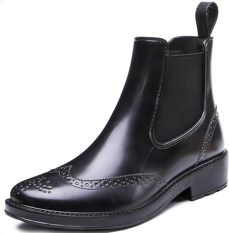 TONGPU Women's Waterproof Short Ankle Rain Boots Fashion Waterproof Slip On Ankel Footwear Brown