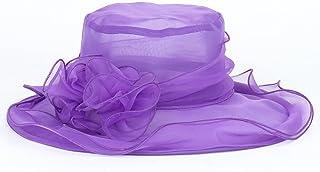 KLNOC Sombrero para El Sol Fashion Women Sun Hats Large Brim Summer Beach Sun Hats Wedding FormalCaps Gray Purple