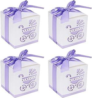BENECREAT 50 Pack Cajas de Ducha para Bebé Cajas de Caramelos Cajas de Regalo con Cinta