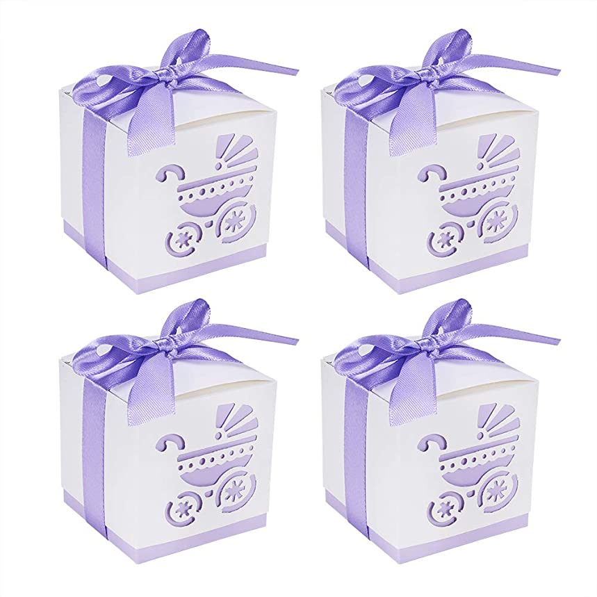"""BENECREAT 50 Sets Candy Gift Boxes 2.4""""x2.4""""x2.4"""" Laser Cut Baptism Favor Boxes with Ribbon for Baby Shower Baptism Decorations Birthday Party Event, Purple"""
