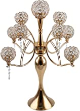 Luxury 9 Arms Candelabra Crystal Candle Holder Pillar Candle Candlesticks Table Centerpiece for Wedding Decoration Ornament