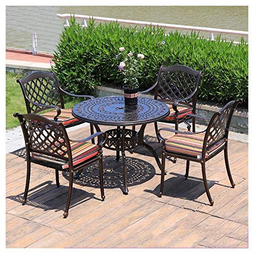 Juegos de muebles de jardín Las mesas y sillas de hierro, muebles del patio de la tabla y sillas de jardín Conversación Conjunto de cristal mesa de centro de jardín al aire libre junto a la piscina DY