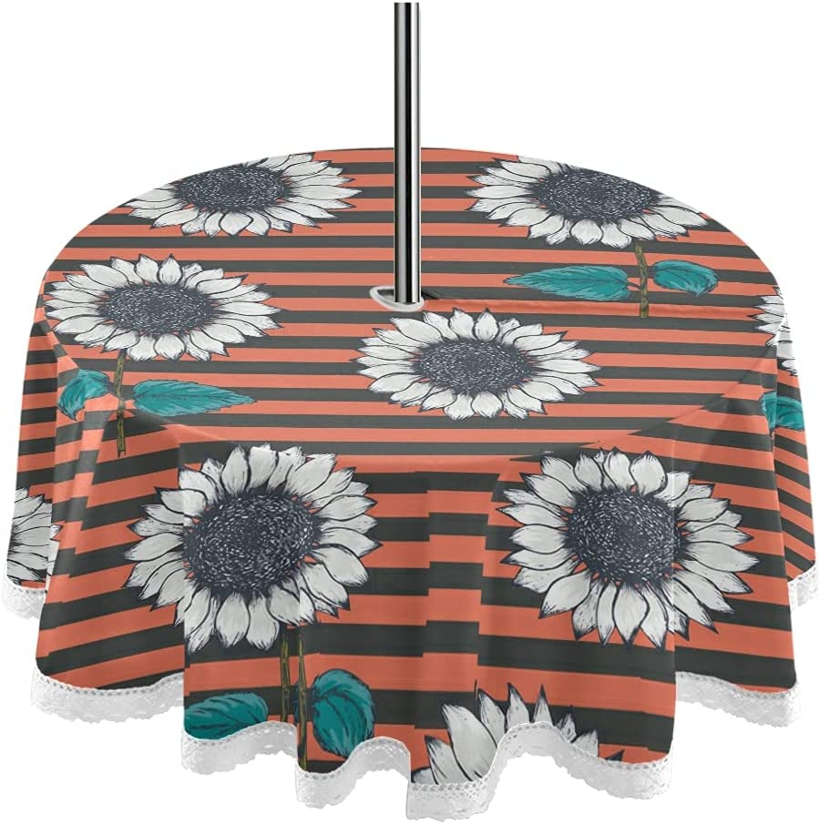 Stripe 60inch Round Tablecloth with Japan's largest assortment Umbrella and Pat Zipper Hole 67% OFF of fixed price
