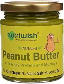 Nutriwish Peanut Butter with Whey Protein and Moringa Bottle 200 g Unsweetened No Added Oil No Added Sugar No Added Salt 1...