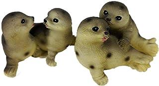 Tierfiguren 2er Set Baby Robben Figuren je 4 x 7 cm Heuler Seehund Tier Figur Deko GRF 39.2180