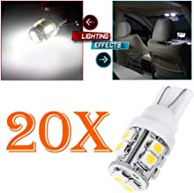 cciyu 194 Extremely Bright LED Bulbs T10-10-3528-SMD fit for Interior Lights Map Light Step/Courtesy/Door Light Glove Box LightInstrument Panel Light Wedge T10 168 2825 W5W White Bulbs Pack of 20