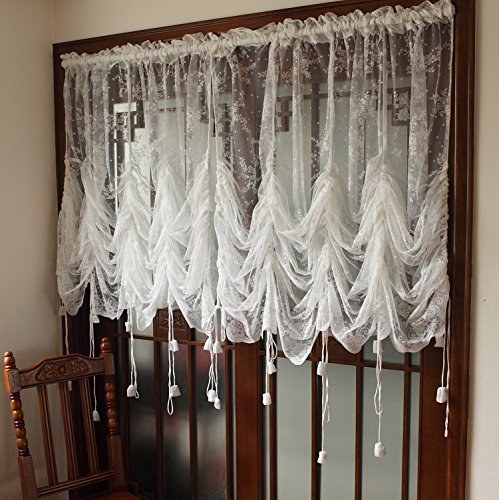 """FADFAY Lace Balloon Curtain White Adjustable Tie-Up Curtain Shade, Embroidered Semi Sheer Farmhouse Drape for Living Room Bedroom Dining Room, 1 Panel Floral Tulle Curtains For Windows-78''59"""""""