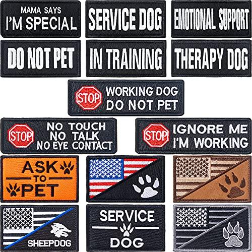15 Pieces Service Dog Patches Dog Vest Patches Removable Tactical...