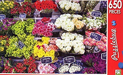 Paris Flower Stand, France - Puzzlebug - 650 Pieces Jigsaw Puzzle by Puzzlebug