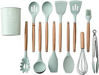 ماينستاي مجموعة ادوات للطهي مكونة من 11 قطعة، مجموعة ادوات للمطبخ من السيليكون، مجموعة ادوات للطهي بمقبض خشبي غير لاصقة لل...