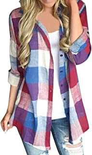 Fankle Women's Plaid Long Sleeve Shirt Casual Collared Button Down Checkered Shirts Blouse Tunic