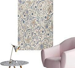 Anzhutwelve Vintage Wallpaper Oriental Scroll with Swirling Leaves with Eastern Design InspirationsBeige Tan Slate Blue W24 xL32 Poster Paper