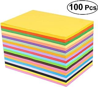 ledmomo 折り紙 A4 20色折紙 千羽鶴 星 両面 工芸 DIY 子供 知育 幼稚園 保育園 小学校 大容量 無地 100枚入り