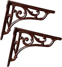 Wandbeugels in vintage-stijl, gietijzer, robuust, rechthoekig, metaal, met schroeven en expansiebuis (bruin)