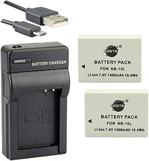 DSTE® アクセサリーキットCanon NB-10L 互換 カメラ バッテリー 2個+USB充電器キット対応機種 PowerShot G1 X G3 X G15 G16 SX40 SX50 SX60 HS