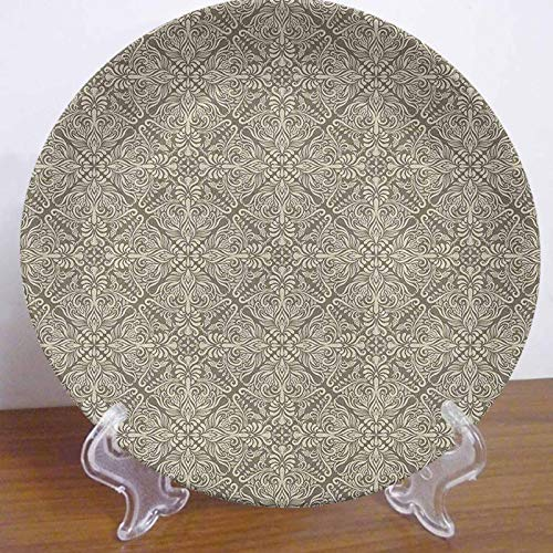 Vintage 10' Ceramic Hanging Decorative Plate,Hand Drawn Style Arabesque Floral Ornament Byzantine Damask Style Curly Leaves Decorative Dinner Plate Ceramic Ornament for Home&Office Wall Decors