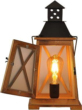 Lampes de table lanternes en bois vintage e27 pour salon, lampe de bureau de chevet en métal rustique antique décoratif décor