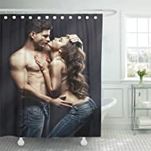 Semtomn Shower Curtain Sexy Beautiful Young Smiling Couple in Love Embracing Indoor Shower Curtains Sets with 12 Hooks 72 x 72 Inches Waterproof Polyester Fabric