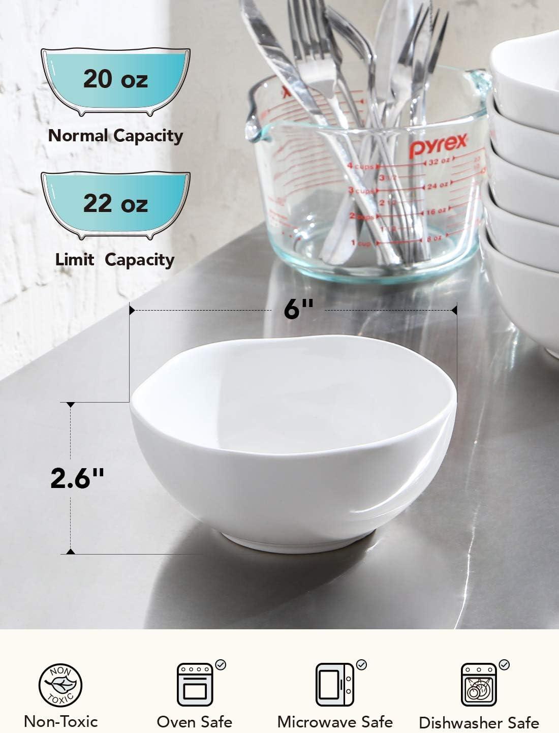 LE TAUCI 12 Piece Dinnerware Set Service for Four person 4 pcs dinner plates /& 4 salad dish /& 4 bowl sets WHITE