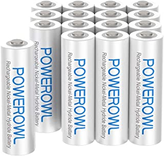 AAA Rechargeable Batteries High Capacity, POWEROWL Low Self Discharge HR03 Battery 1000mAh 1.2V NiMH, 16 Pack