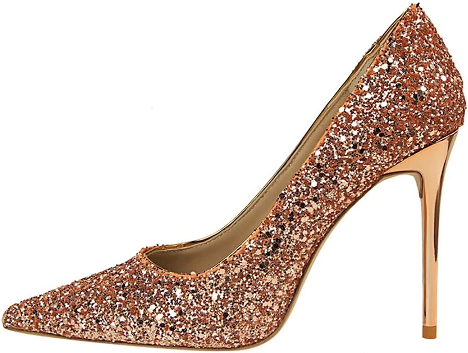 High Heels, Pointed shoes Shallow Mouth, Sequined Crystal shoes 10 cm (color   Champagne, Size   6 US)
