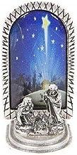 Pesebre pequeño de plata chapeada con Imagen - Adorno navideño