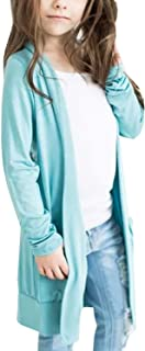 Toddler Girls Boyfriend Cardigan Open Front Casual Long Sleeve Outerwear with Pockets