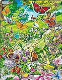 Larsen FH28 Mariposas en un Hermoso Campo de Flores, Puzzle de Marco con 42 Piezas